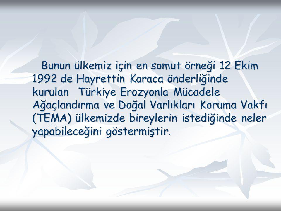 Bunun ülkemiz için en somut örneği 12 Ekim 1992 de Hayrettin Karaca önderliğinde kurulan Türkiye Erozyonla Mücadele Ağaçlandırma ve Doğal Varlıkları K