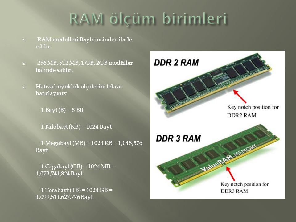  RAM modülleri Bayt cinsinden ifade edilir.  256 MB, 512 MB, 1 GB, 2GB modüller hâlinde satılır.  Hafıza büyüklük ölçülerini tekrar hatırlayınız: 1