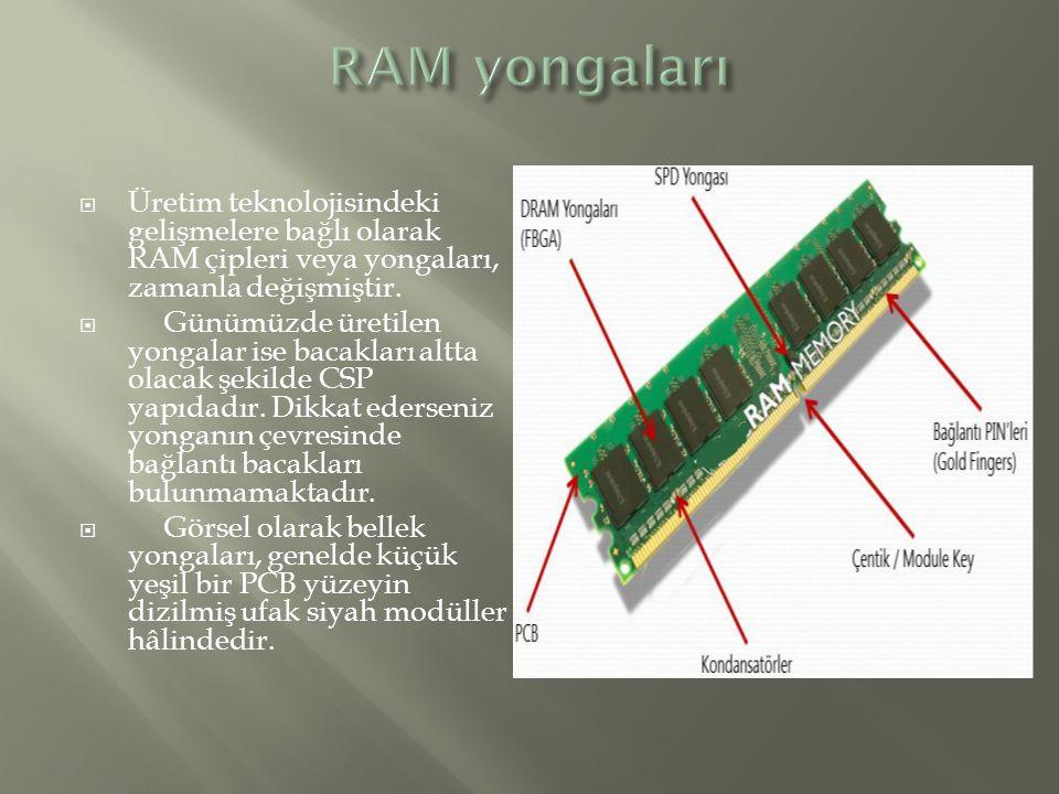  Üretim teknolojisindeki gelişmelere bağlı olarak RAM çipleri veya yongaları, zamanla değişmiştir.  Günümüzde üretilen yongalar ise bacakları altta