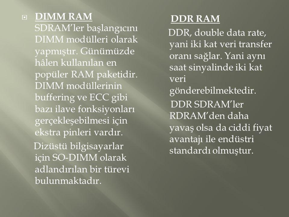  DIMM RAM SDRAM'ler başlangıcını DIMM modülleri olarak yapmıştır. Günümüzde hâlen kullanılan en popüler RAM paketidir. DIMM modüllerinin buffering ve