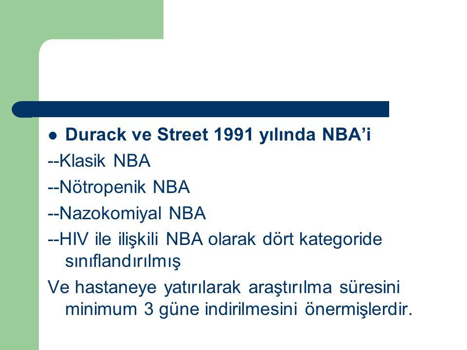 Durack ve Street 1991 yılında NBA'i --Klasik NBA --Nötropenik NBA --Nazokomiyal NBA --HIV ile ilişkili NBA olarak dört kategoride sınıflandırılmış Ve
