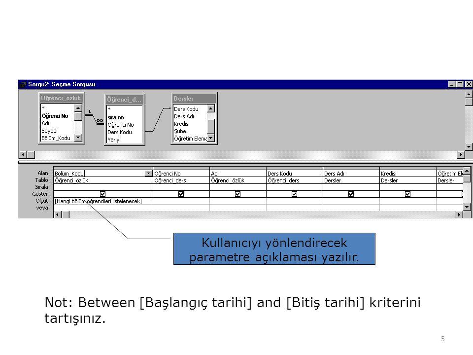 5 Kullanıcıyı yönlendirecek parametre açıklaması yazılır. Not: Between [Başlangıç tarihi] and [Bitiş tarihi] kriterini tartışınız.