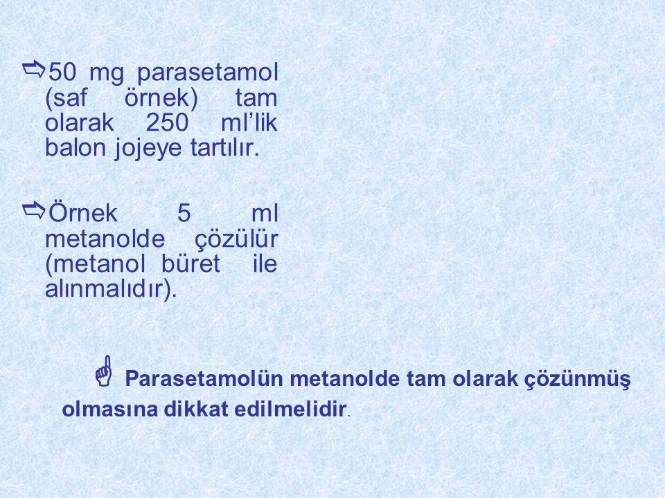  50 mg parasetamol (saf örnek) tam olarak 250 ml'lik balon jojeye tartılır.  Örnek 5 ml metanolde çözülür (metanol büret ile alınmalıdır).  Paraset