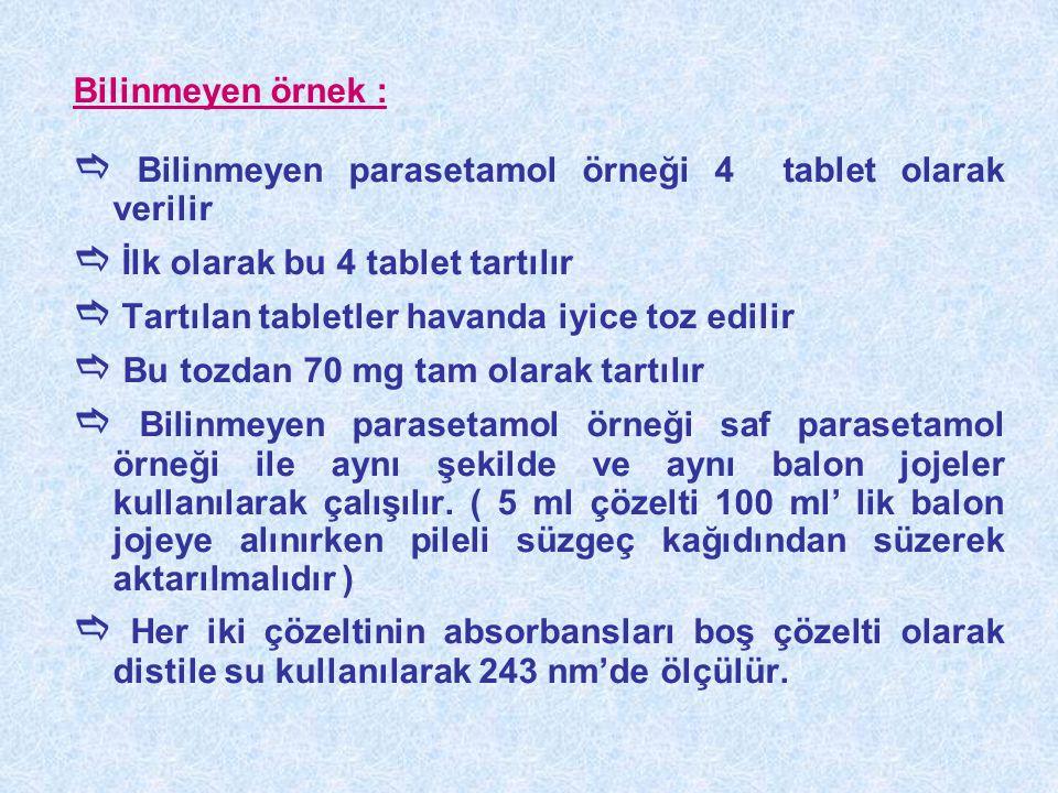 Bilinmeyen örnek :  Bilinmeyen parasetamol örneği 4 tablet olarak verilir  İlk olarak bu 4 tablet tartılır  Tartılan tabletler havanda iyice toz ed