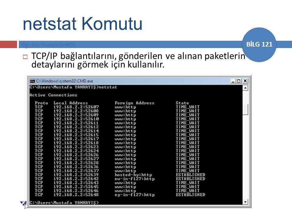 BİLG 121  TCP/IP bağlantılarını, gönderilen ve alınan paketlerin detaylarını görmek için kullanılır. netstat Komutu