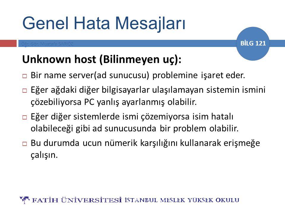 BİLG 121 Unknown host (Bilinmeyen uç):  Bir name server(ad sunucusu) problemine işaret eder.  Eğer ağdaki diğer bilgisayarlar ulaşılamayan sistemin
