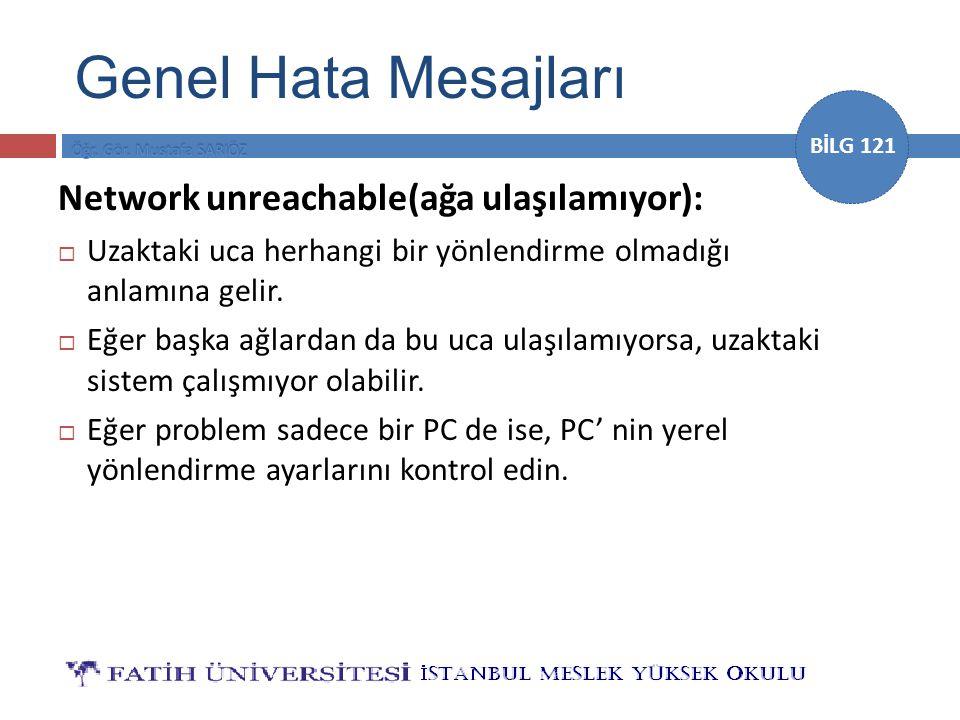 BİLG 121 Network unreachable(ağa ulaşılamıyor):  Uzaktaki uca herhangi bir yönlendirme olmadığı anlamına gelir.  Eğer başka ağlardan da bu uca ulaşı