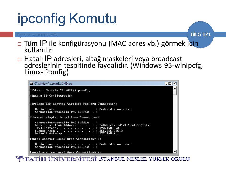 BİLG 121  Tüm IP ile konfigürasyonu (MAC adres vb.) görmek için kullanılır.  Hatalı IP adresleri, altağ maskeleri veya broadcast adreslerinin tespit