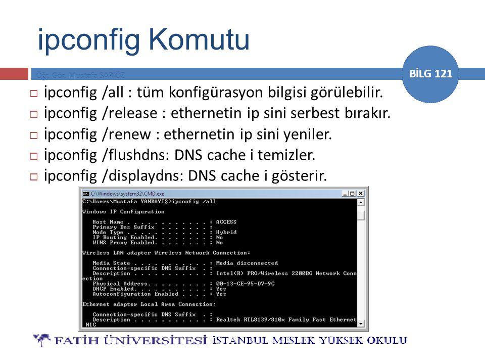 BİLG 121  i pconfig /all : tüm konfigürasyon bilgisi görülebilir.  i pconfig /release : ethernetin ip sini serbest bırakır.  i pconfig /renew : eth