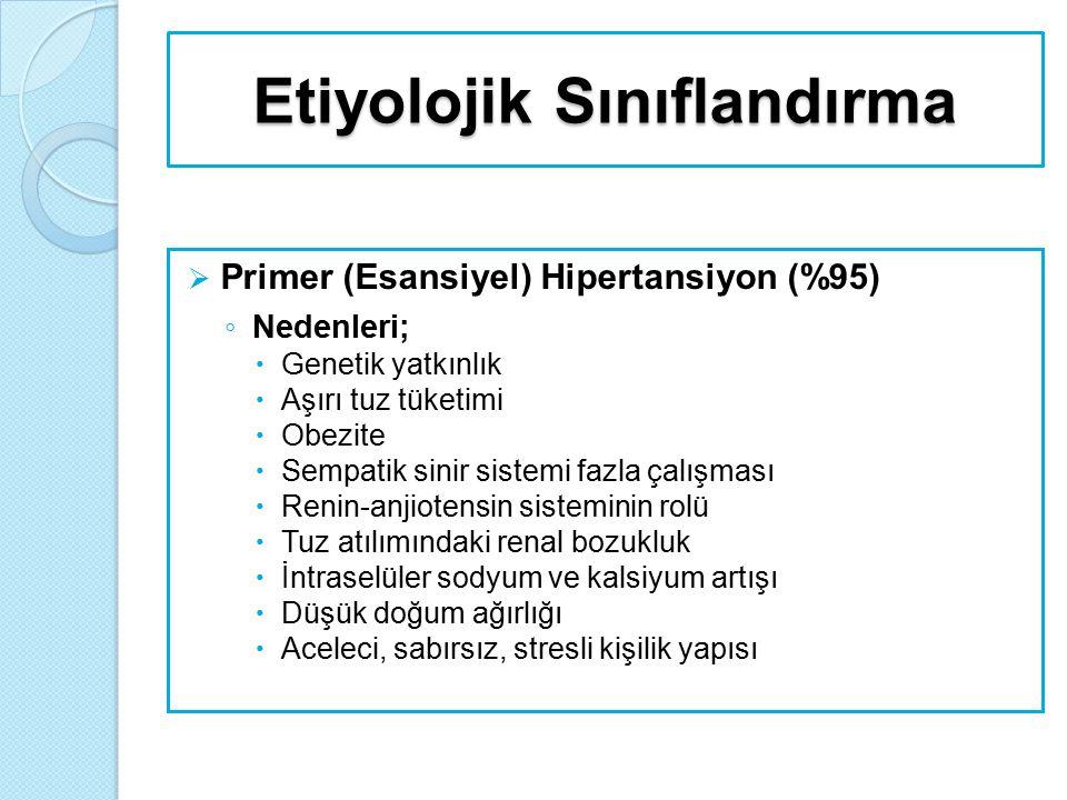 Etiyolojik Sınıflandırma  Primer (Esansiyel) Hipertansiyon (%95) ◦ Nedenleri;  Genetik yatkınlık  Aşırı tuz tüketimi  Obezite  Sempatik sinir sis