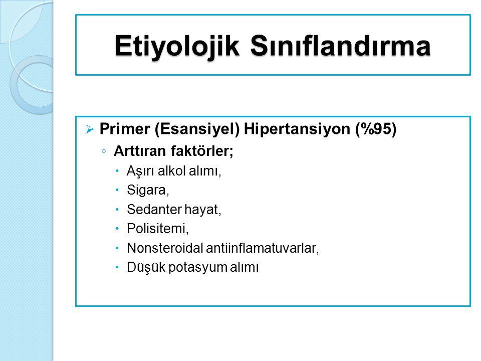 Etiyolojik Sınıflandırma  Primer (Esansiyel) Hipertansiyon (%95) ◦ Arttıran faktörler;  Aşırı alkol alımı,  Sigara,  Sedanter hayat,  Polisitemi,