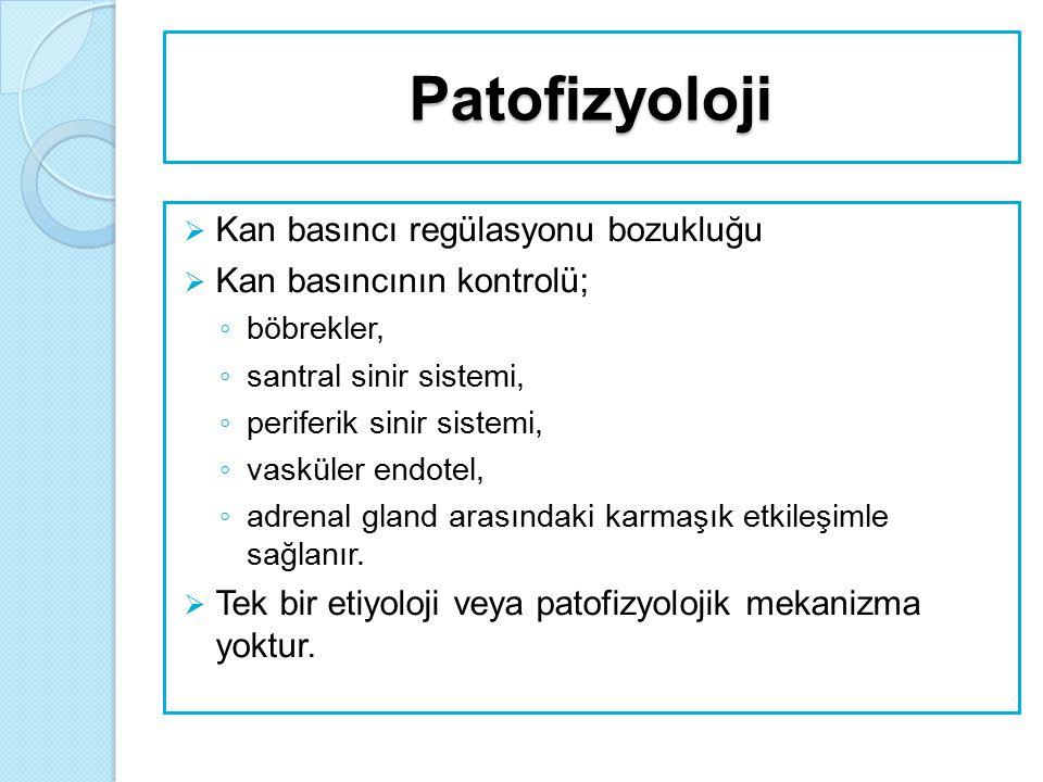 Patofizyoloji  Kan basıncı regülasyonu bozukluğu  Kan basıncının kontrolü; ◦ böbrekler, ◦ santral sinir sistemi, ◦ periferik sinir sistemi, ◦ vaskül
