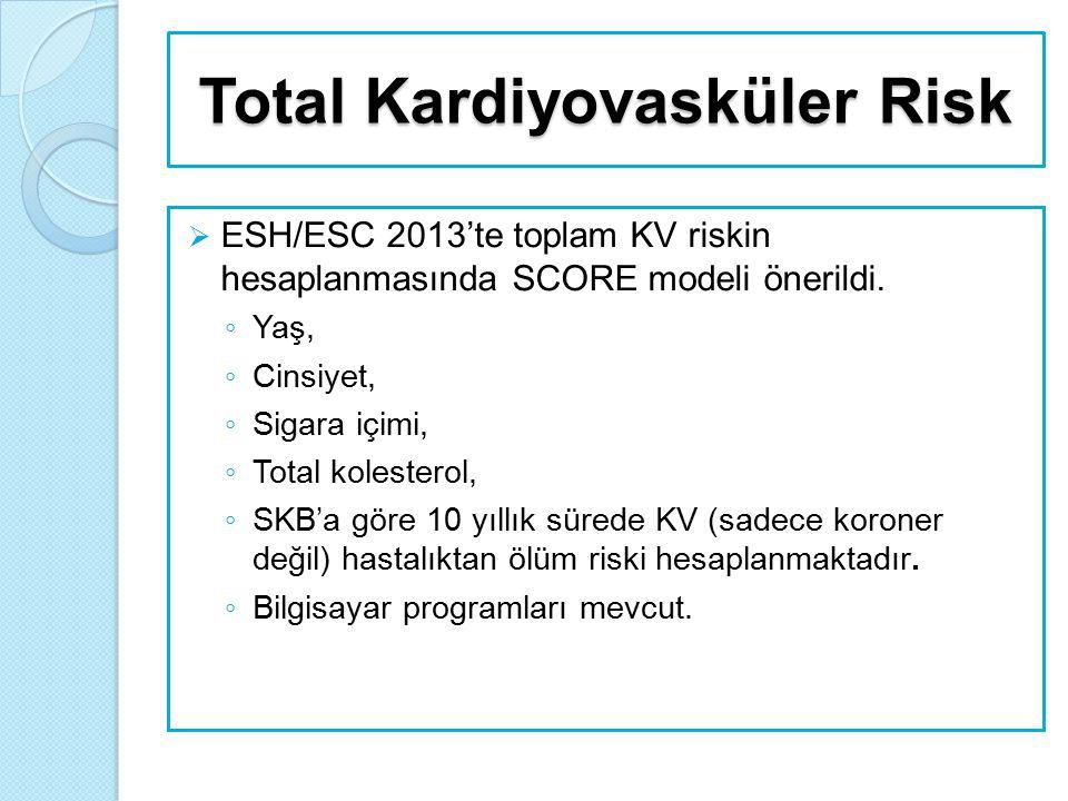 Total Kardiyovasküler Risk  ESH/ESC 2013'te toplam KV riskin hesaplanmasında SCORE modeli önerildi. ◦ Yaş, ◦ Cinsiyet, ◦ Sigara içimi, ◦ Total kolest