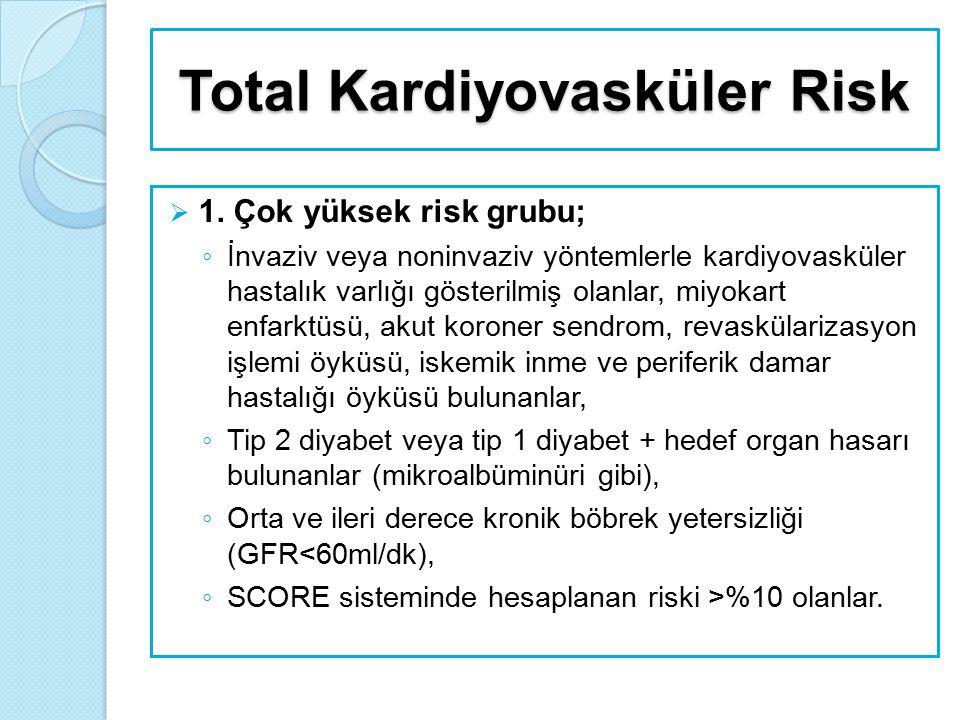 Total Kardiyovasküler Risk  1. Çok yüksek risk grubu; ◦ İnvaziv veya noninvaziv yöntemlerle kardiyovasküler hastalık varlığı gösterilmiş olanlar, miy