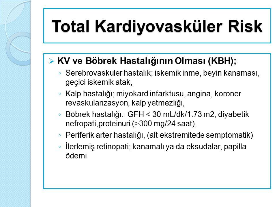 Total Kardiyovasküler Risk  KV ve Böbrek Hastalığının Olması (KBH); ◦ Serebrovaskuler hastalık; iskemik inme, beyin kanaması, geçici iskemik atak, ◦