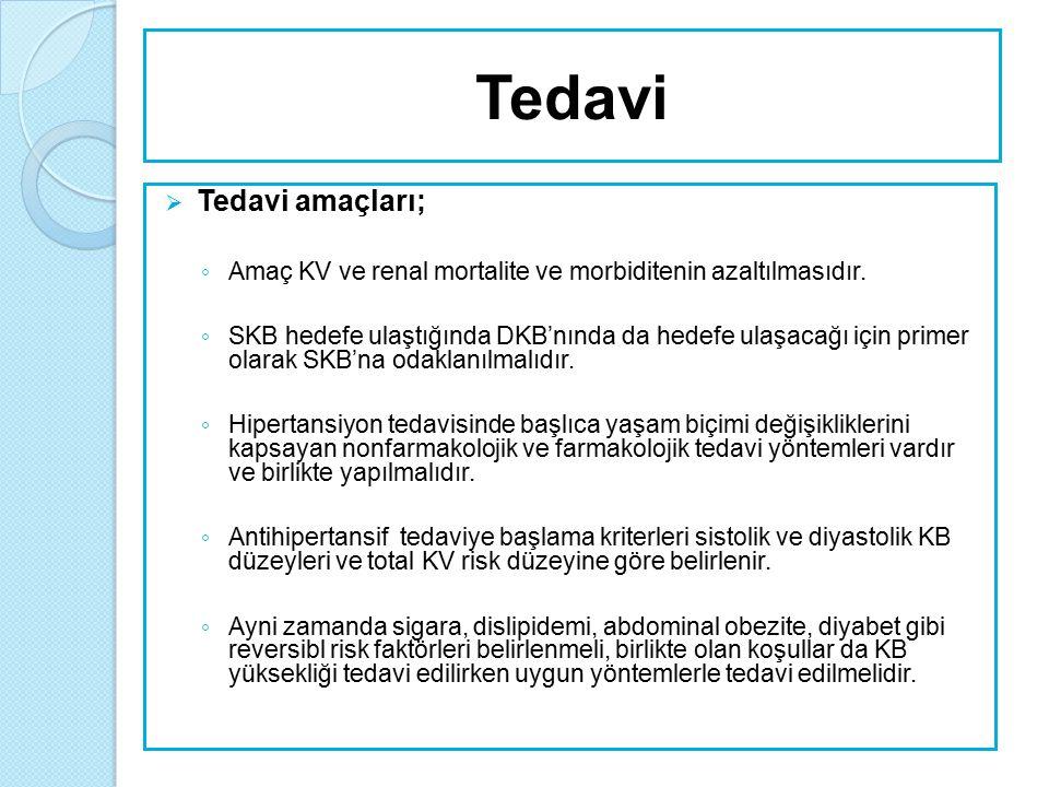 Tedavi  Tedavi amaçları; ◦ Amaç KV ve renal mortalite ve morbiditenin azaltılmasıdır. ◦ SKB hedefe ulaştığında DKB'nında da hedefe ulaşacağı için pri