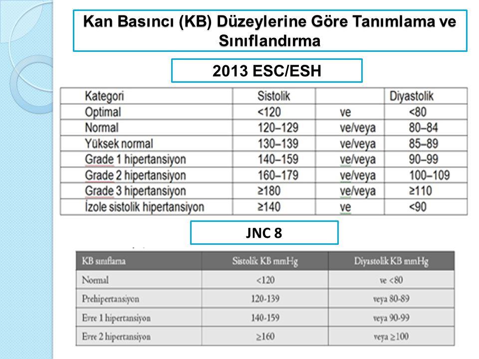 Kan Basıncı (KB) Düzeylerine Göre Tanımlama ve Sınıflandırma 2013 ESC/ESH JNC 8