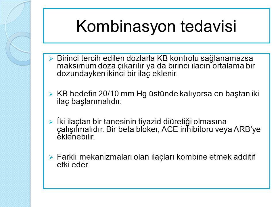 Kombinasyon tedavisi  Birinci tercih edilen dozlarla KB kontrolü sağlanamazsa maksimum doza çıkarılır ya da birinci ilacın ortalama bir dozundayken i