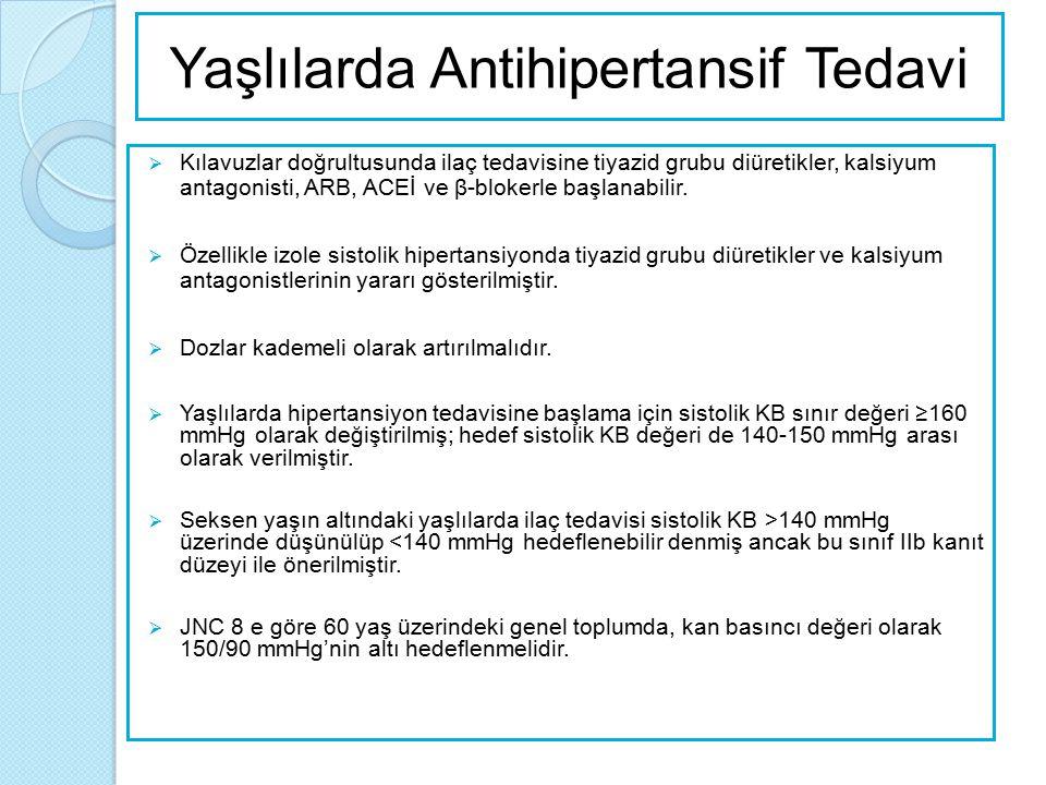 Yaşlılarda Antihipertansif Tedavi  Kılavuzlar doğrultusunda ilaç tedavisine tiyazid grubu diüretikler, kalsiyum antagonisti, ARB, ACEİ ve β-blokerle