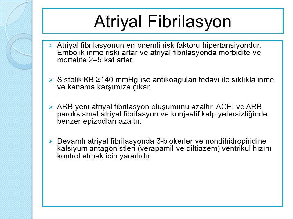 Atriyal Fibrilasyon  Atriyal fibrilasyonun en önemli risk faktörü hipertansiyondur. Embolik inme riski artar ve atriyal fibrilasyonda morbidite ve mo