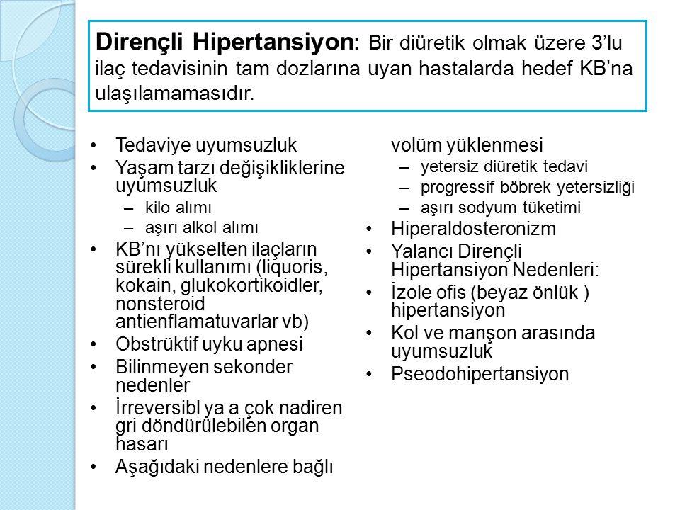 Dirençli Hipertansiyon : Bir diüretik olmak üzere 3'lu ilaç tedavisinin tam dozlarına uyan hastalarda hedef KB'na ulaşılamamasıdır. Tedaviye uyumsuzlu