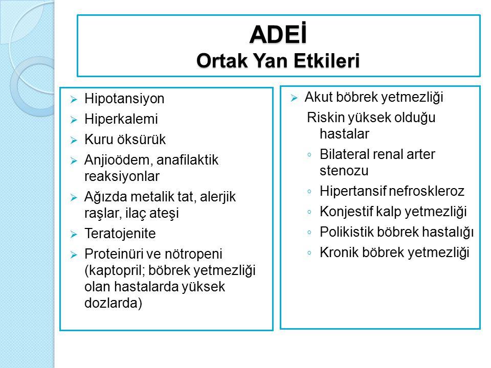 ADEİ Ortak Yan Etkileri  Hipotansiyon  Hiperkalemi  Kuru öksürük  Anjioödem, anafilaktik reaksiyonlar  Ağızda metalik tat, alerjik raşlar, ilaç a