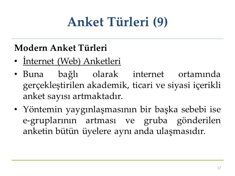 Anket Türleri (9) Modern Anket Türleri İnternet (Web) Anketleri Buna bağlı olarak internet ortamında gerçekleştirilen akademik, ticari ve siyasi içerikli anket sayısı artmaktadır.