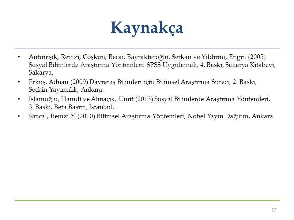 Kaynakça Antunışık, Remzi, Coşkun, Recai, Bayraktaroğlu, Serkan ve Yıldırım, Engin (2005) Sosyal Bilimlerde Araştırma Yöntemleri: SPSS Uygulamalı, 4.