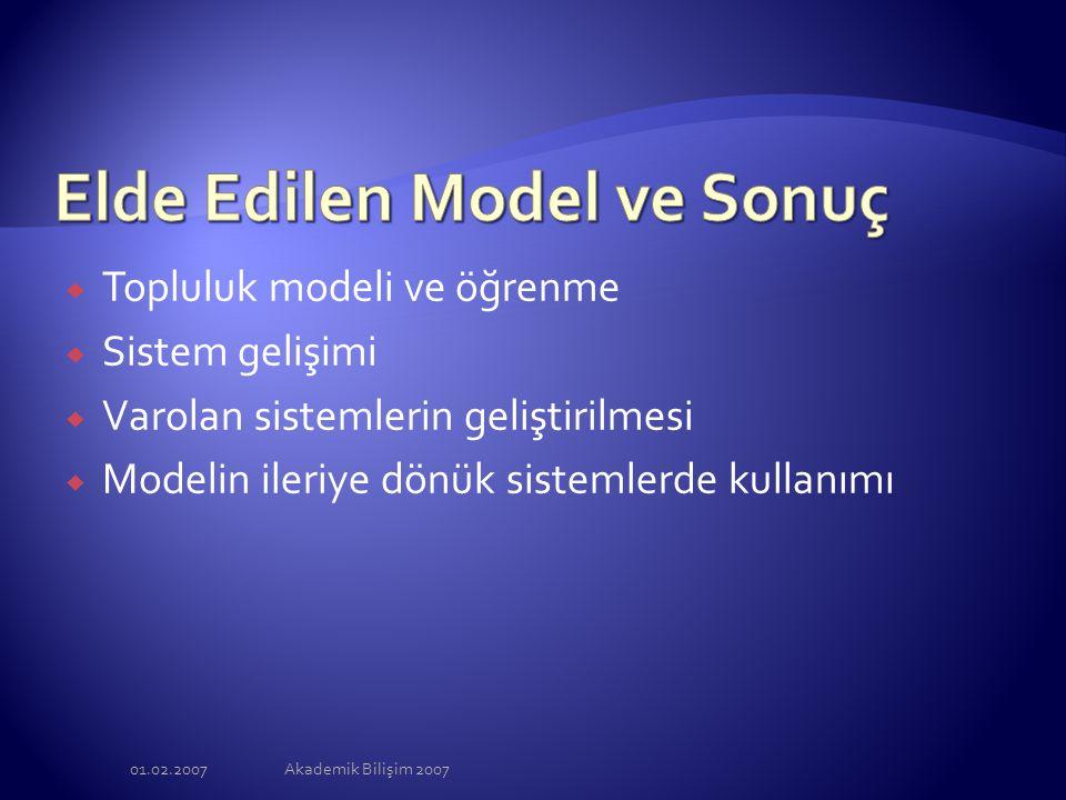 01.02.2007Akademik Bilişim 2007  Topluluk modeli ve öğrenme  Sistem gelişimi  Varolan sistemlerin geliştirilmesi  Modelin ileriye dönük sistemlerd