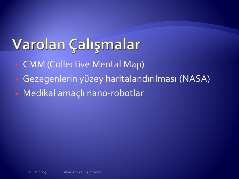 01.02.2007Akademik Bilişim 2007  CMM (Collective Mental Map)  Gezegenlerin yüzey haritalandırılması (NASA)  Medikal amaçlı nano-robotlar