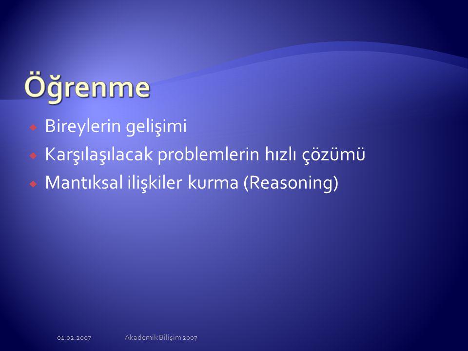 01.02.2007Akademik Bilişim 2007  Bireylerin gelişimi  Karşılaşılacak problemlerin hızlı çözümü  Mantıksal ilişkiler kurma (Reasoning)