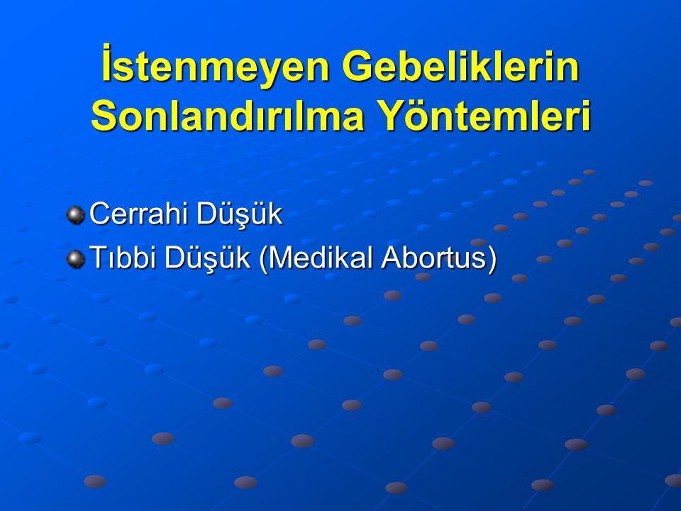 İstenmeyen Gebeliklerin Sonlandırılma Yöntemleri Cerrahi Düşük Tıbbi Düşük (Medikal Abortus)