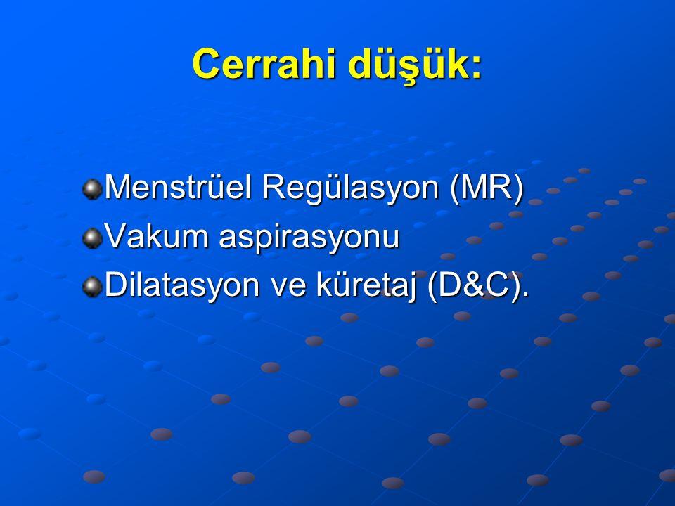 Cerrahi düşük: Menstrüel Regülasyon (MR) Vakum aspirasyonu Dilatasyon ve küretaj (D&C).
