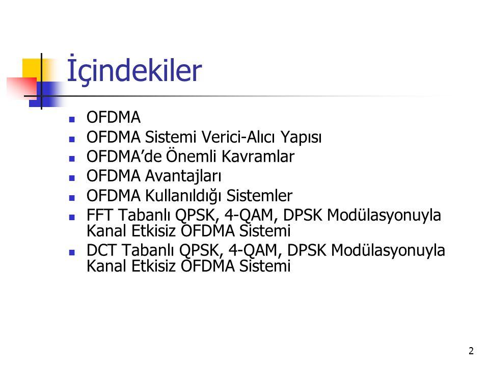 2 İçindekiler OFDMA OFDMA Sistemi Verici-Alıcı Yapısı OFDMA'de Önemli Kavramlar OFDMA Avantajları OFDMA Kullanıldığı Sistemler FFT Tabanlı QPSK, 4-QAM, DPSK Modülasyonuyla Kanal Etkisiz OFDMA Sistemi DCT Tabanlı QPSK, 4-QAM, DPSK Modülasyonuyla Kanal Etkisiz OFDMA Sistemi