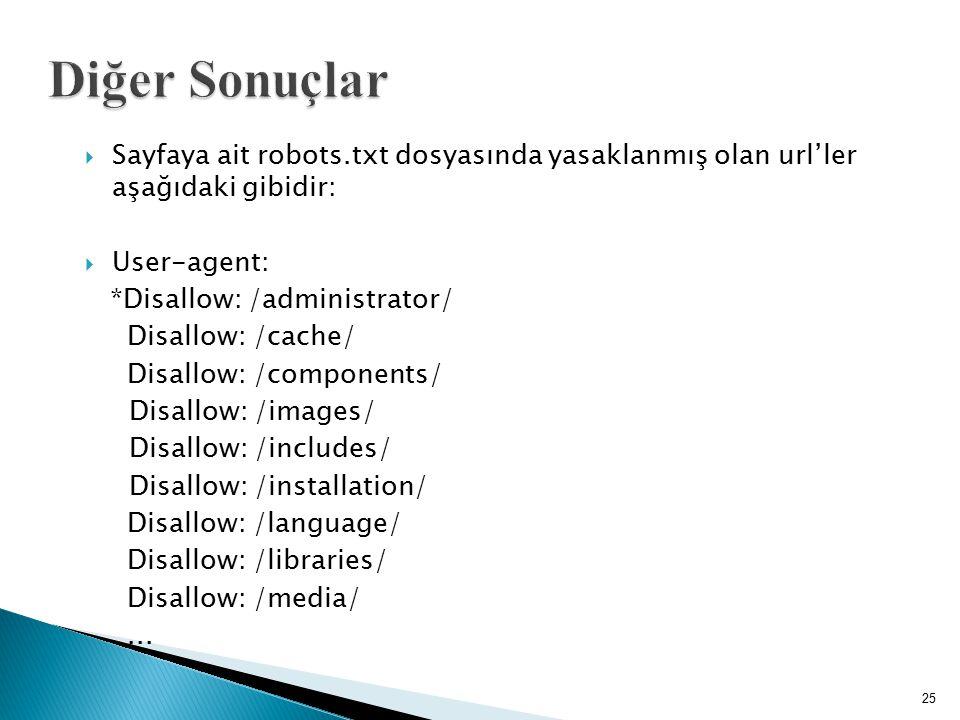  Sayfaya ait robots.txt dosyasında yasaklanmış olan url'ler aşağıdaki gibidir:  User-agent: *Disallow: /administrator/ Disallow: /cache/ Disallow: /
