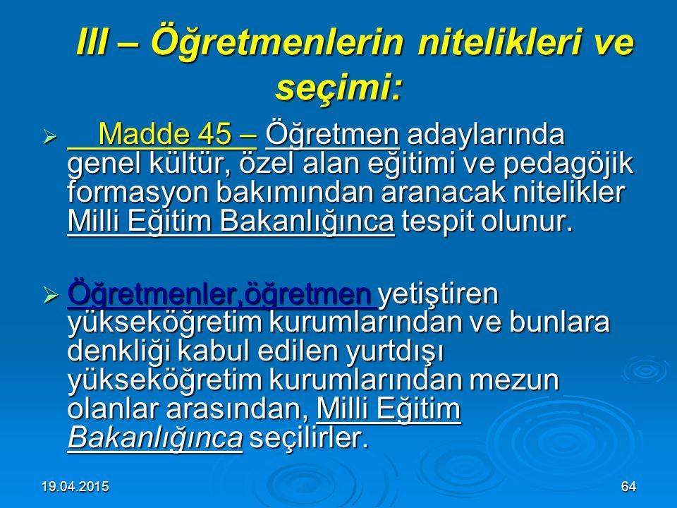 19.04.201563 II – Milli Eğitim Bakanlığına bağlı