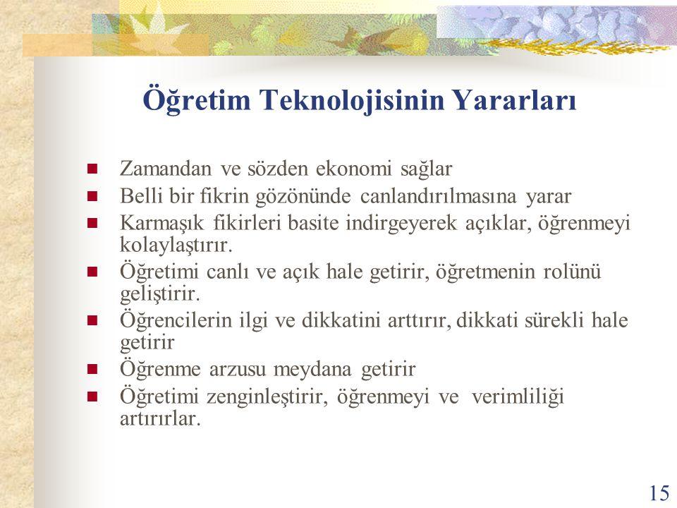 16 Öğretim Teknolojisinin Yararları Fırsat eşitliğini gerçekleştirir.