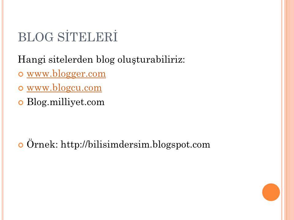 BLOG SİTELERİ Hangi sitelerden blog oluşturabiliriz: www.blogger.com www.blogcu.com Blog.milliyet.com Örnek: http://bilisimdersim.blogspot.com