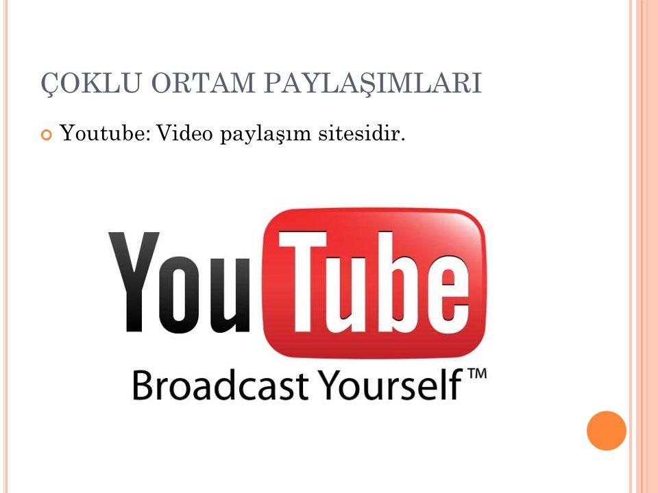 ÇOKLU ORTAM PAYLAŞIMLARI Youtube: Video paylaşım sitesidir.