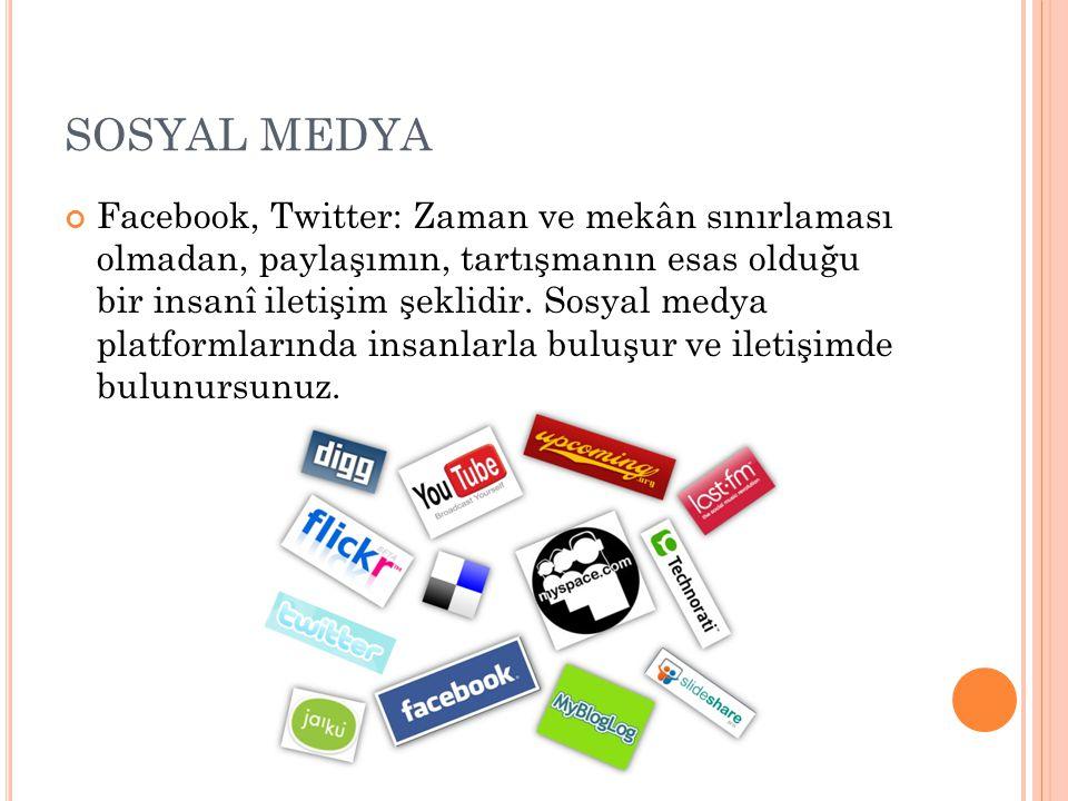 SOSYAL MEDYA Facebook, Twitter: Zaman ve mekân sınırlaması olmadan, paylaşımın, tartışmanın esas olduğu bir insanî iletişim şeklidir. Sosyal medya pla