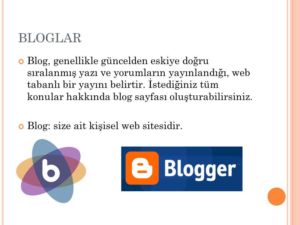 BLOGLAR Blog, genellikle güncelden eskiye doğru sıralanmış yazı ve yorumların yayınlandığı, web tabanlı bir yayını belirtir. İstediğiniz tüm konular h