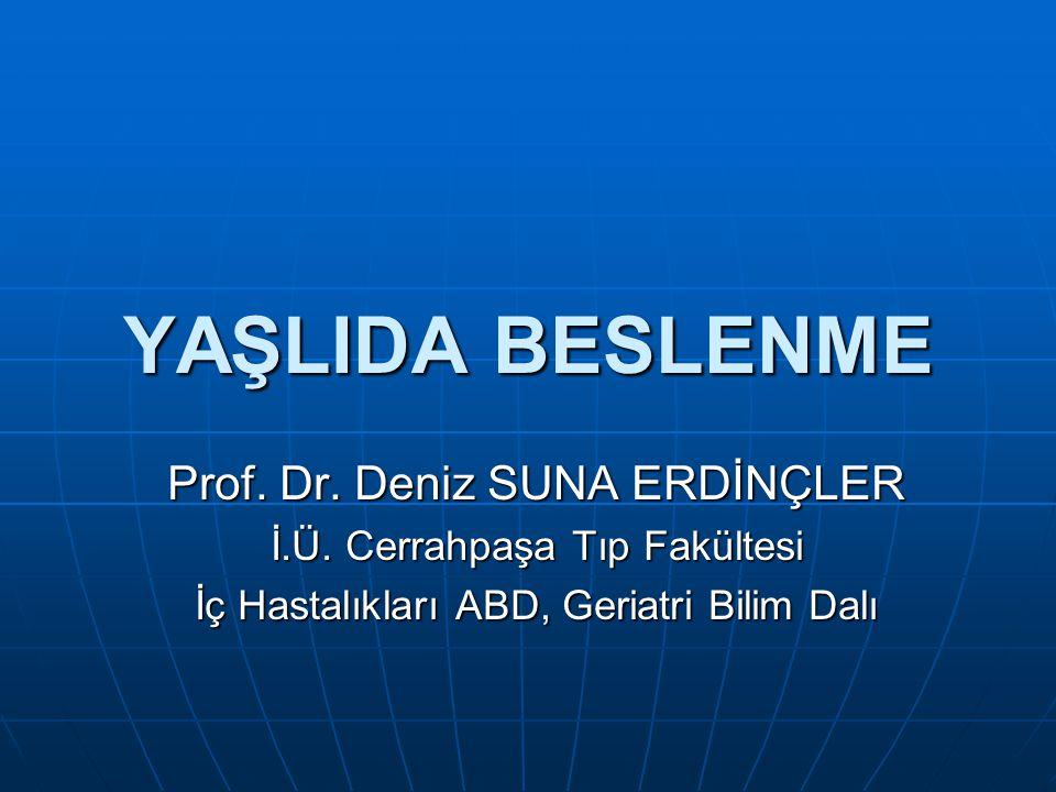 YAŞLIDA BESLENME Prof. Dr. Deniz SUNA ERDİNÇLER İ.Ü. Cerrahpaşa Tıp Fakültesi İç Hastalıkları ABD, Geriatri Bilim Dalı