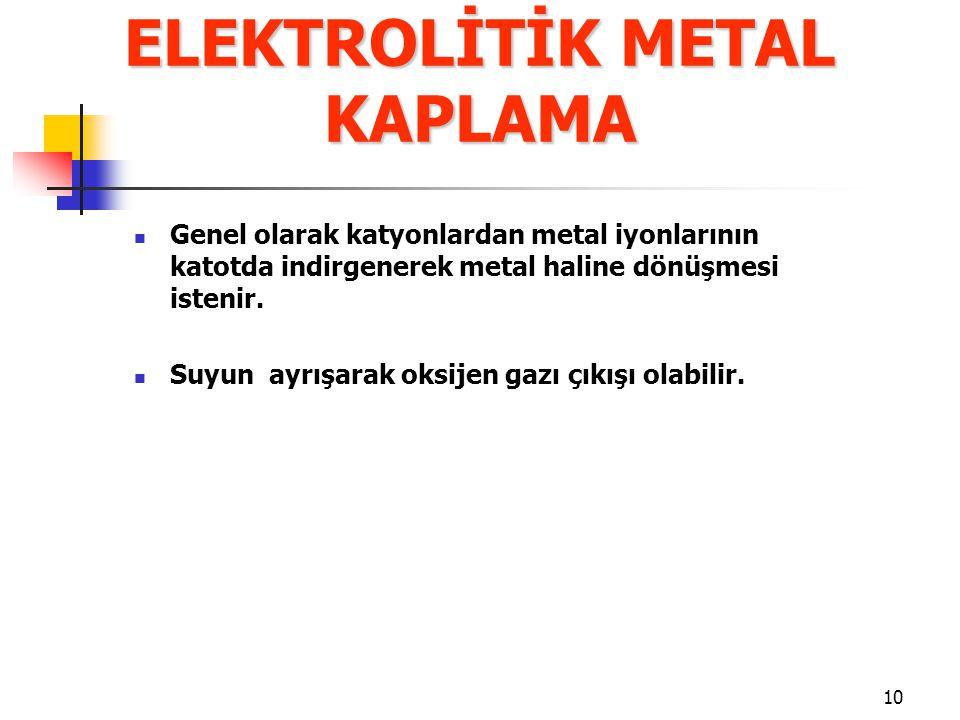 10 Genel olarak katyonlardan metal iyonlarının katotda indirgenerek metal haline dönüşmesi istenir. Suyun ayrışarak oksijen gazı çıkışı olabilir. ELEK