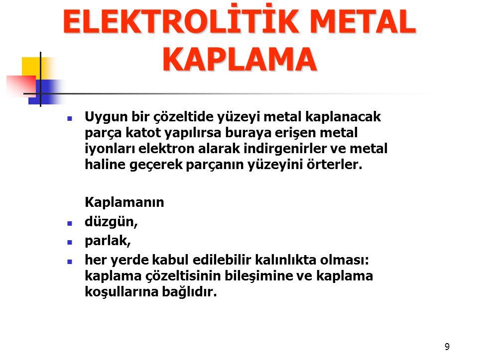 9 Uygun bir çözeltide yüzeyi metal kaplanacak parça katot yapılırsa buraya erişen metal iyonları elektron alarak indirgenirler ve metal haline geçerek