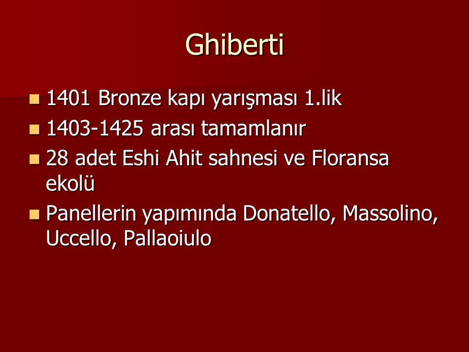 Ghiberti 1401 Bronze kapı yarışması 1.lik 1401 Bronze kapı yarışması 1.lik 1403-1425 arası tamamlanır 1403-1425 arası tamamlanır 28 adet Eshi Ahit sah