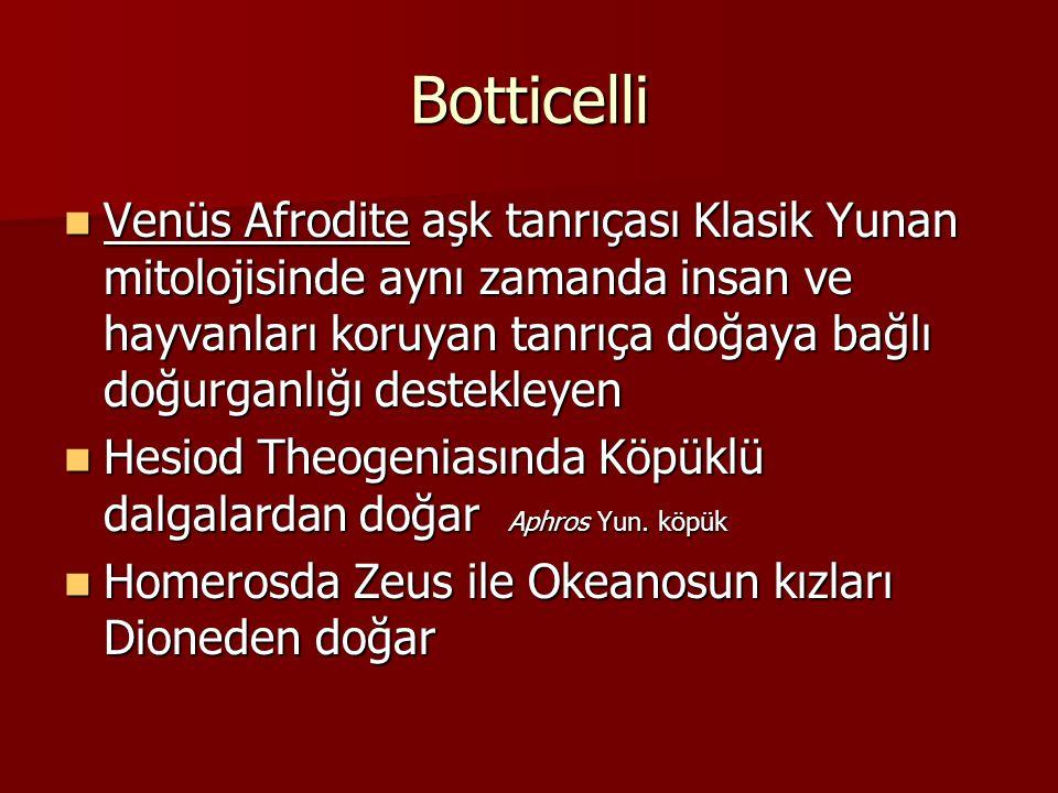 Botticelli Venüs Afrodite aşk tanrıçası Klasik Yunan mitolojisinde aynı zamanda insan ve hayvanları koruyan tanrıça doğaya bağlı doğurganlığı destekle