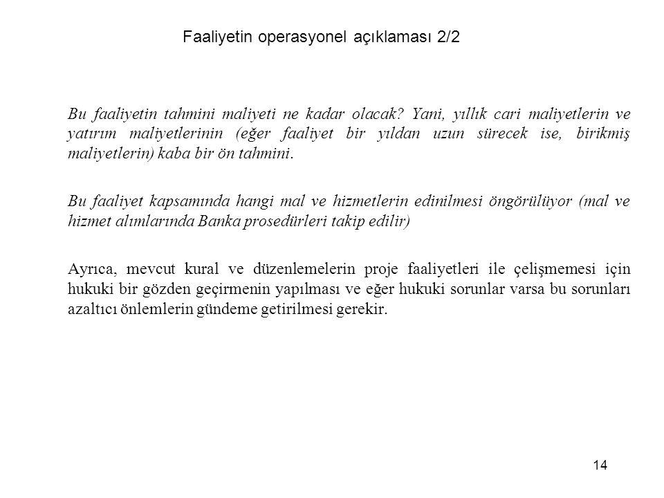 14 Faaliyetin operasyonel açıklaması 2/2 Bu faaliyetin tahmini maliyeti ne kadar olacak.