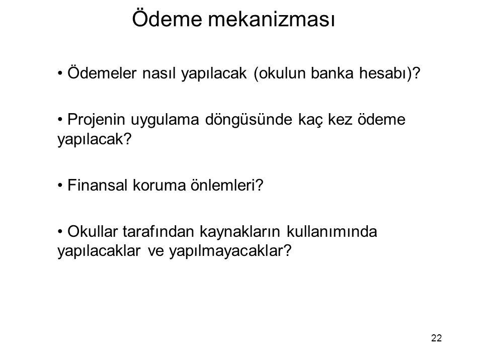 22 Ödeme mekanizması Ödemeler nasıl yapılacak (okulun banka hesabı)? Projenin uygulama döngüsünde kaç kez ödeme yapılacak? Finansal koruma önlemleri?