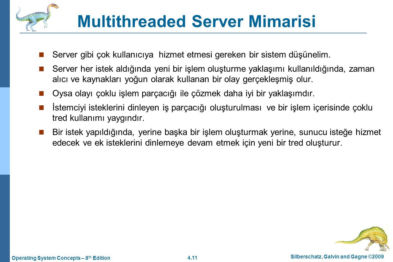 4.11 Silberschatz, Galvin and Gagne ©2009 Operating System Concepts – 8 th Edition Multithreaded Server Mimarisi Server gibi çok kullanıcıya hizmet et