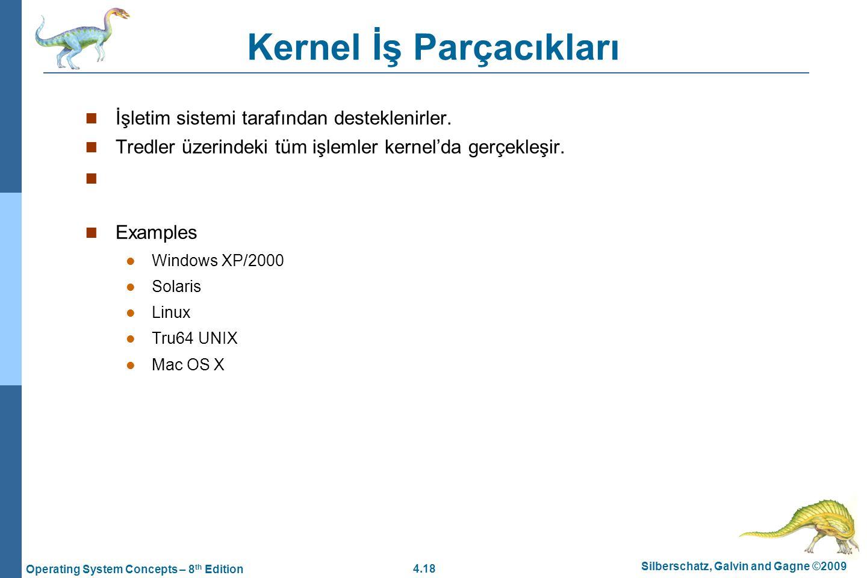 4.18 Silberschatz, Galvin and Gagne ©2009 Operating System Concepts – 8 th Edition Kernel İş Parçacıkları İşletim sistemi tarafından desteklenirler. T